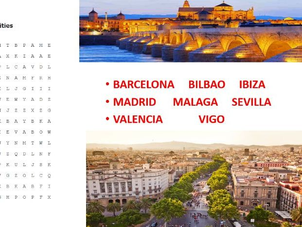 Spanish Cities Word Search