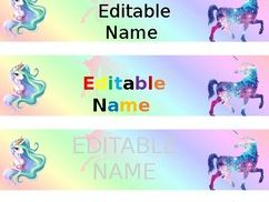 Unicorn Time - Bookmarks & Name Tags - Editable