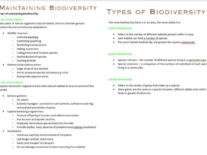 Biodiversity Booklet AS Biology OCR