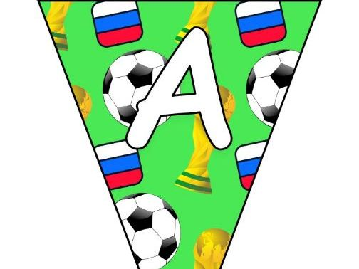 Printable bunting display bulletin letters numbers: World Cup Football Russia