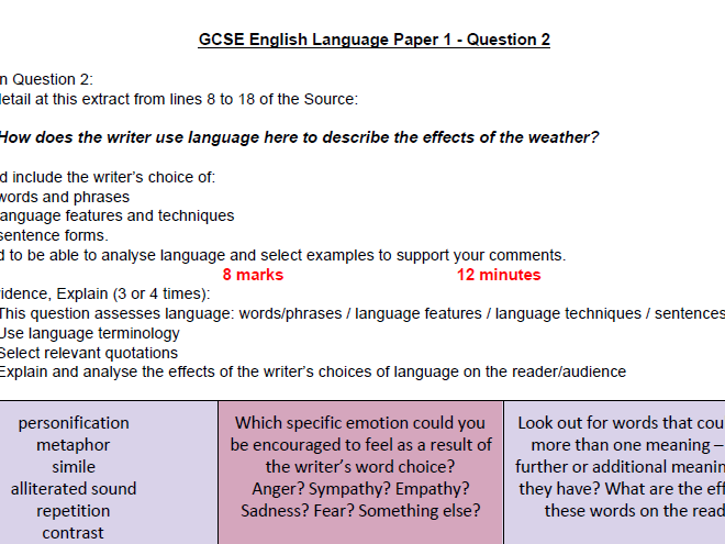 Updated How to Answer Question 2, Paper 1 AQA English ...