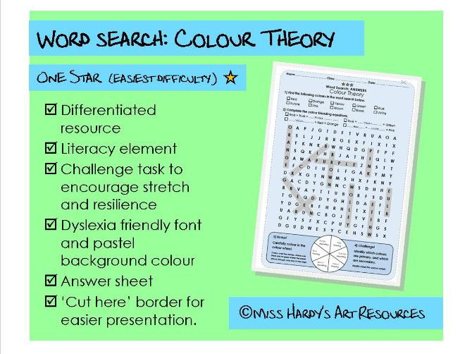 Art&Design - Colour Theory - Wordsearch - Easiest Difficulty - Starter/Plenary/Homework