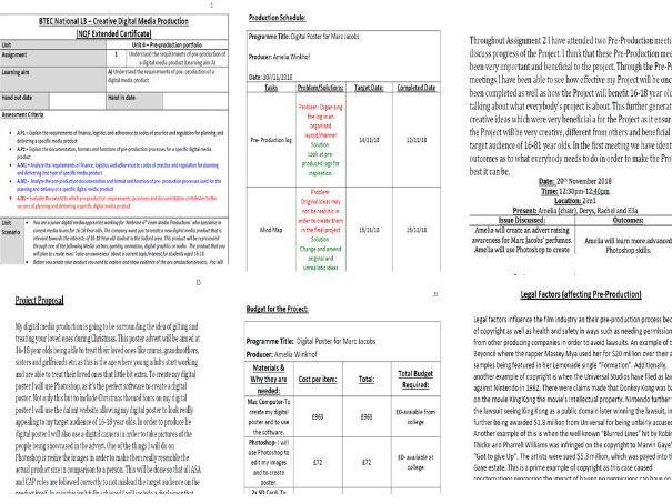 BTEC L3 Creative Digital Media Production - Unit 4 Pre-Production - exemplar student assessed work