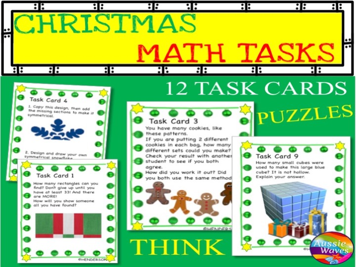 CHRISTMAS MATH Activity Task Cards MATH STATIONS Thinking Activities SET 2