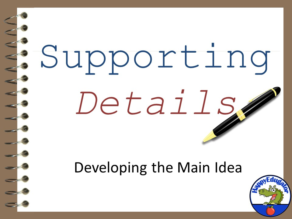 Main Idea and Supporting Details with Transition Words PowerPoint