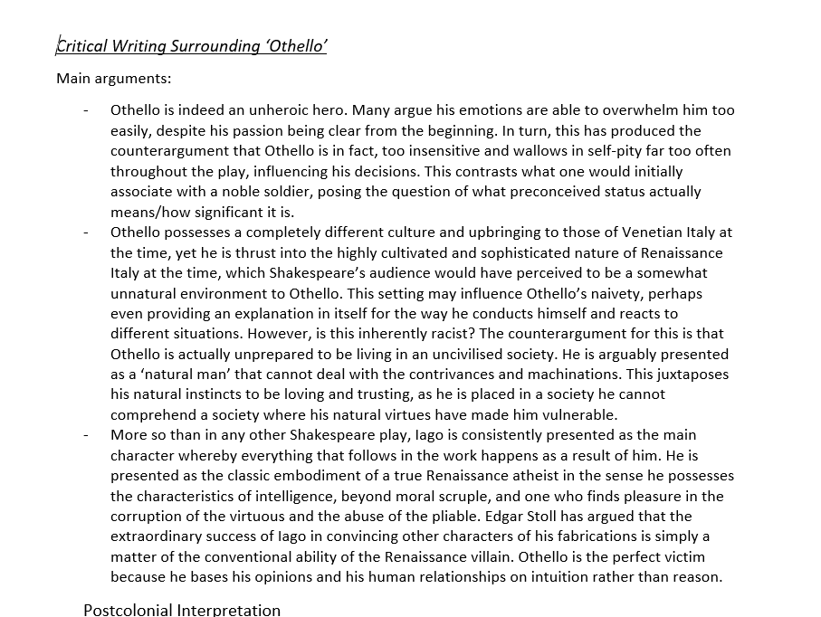 Critical Writing on Othello