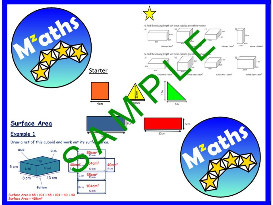 Surface Area - Nets/Cubes/Cuboids/Problem Solving/Revision