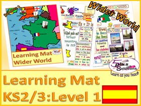 PRIMARY SPANISH VOCABULARY LEARNING MAT (KS2/3): UK, France, Spain,capitals, nationality, compass