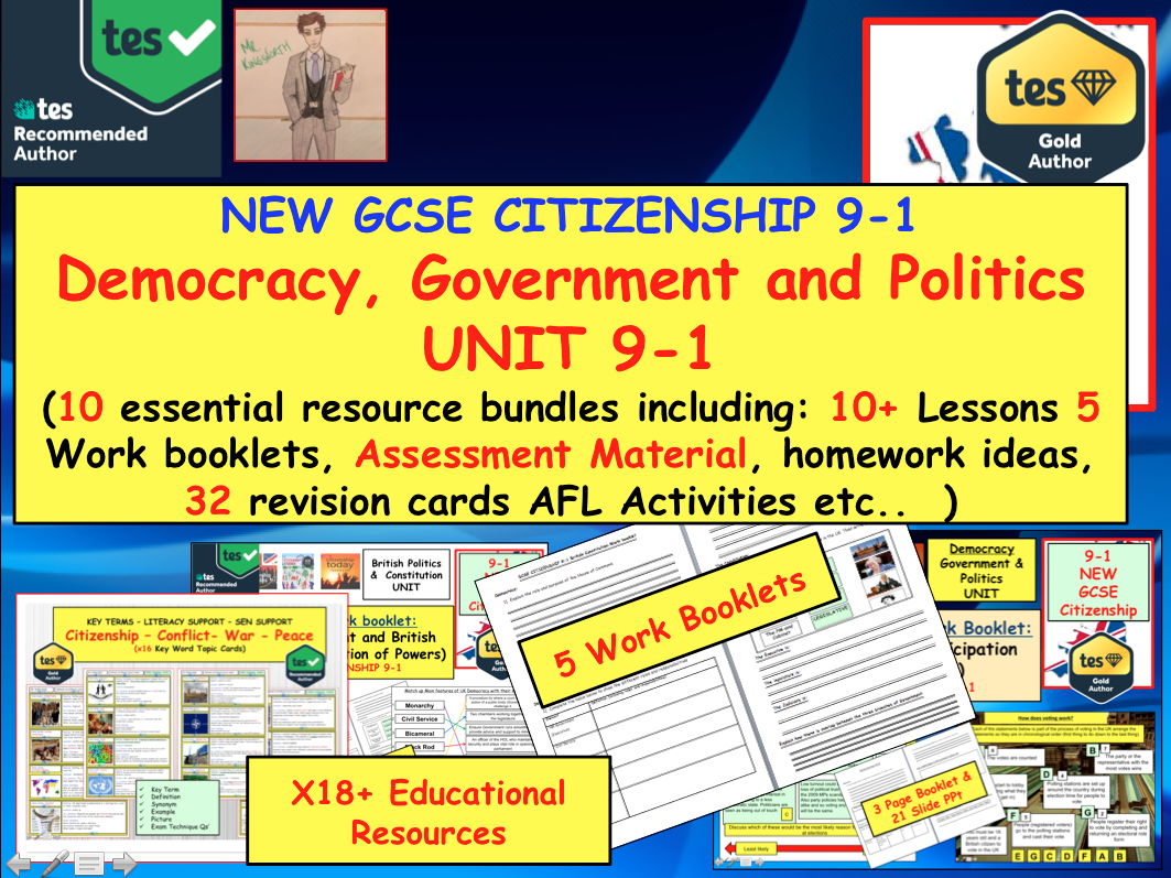 NEW GCSE CITIZENSHIP 9-1 Democracy, Government and Politics  UNIT.
