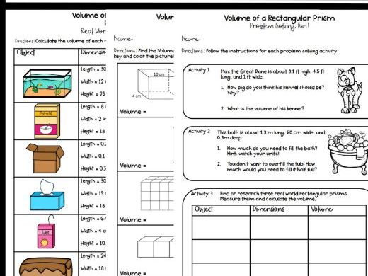 Volume of a Rectangular Prism Activity Pack! Fun, Coloring, Problem Solving