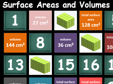 Cuboids, surface area and volume: triple concentration whole class game