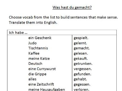 quick German perfect tense sentence building task
