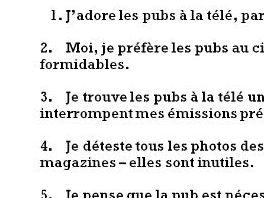 A translation task from French into English about adverts