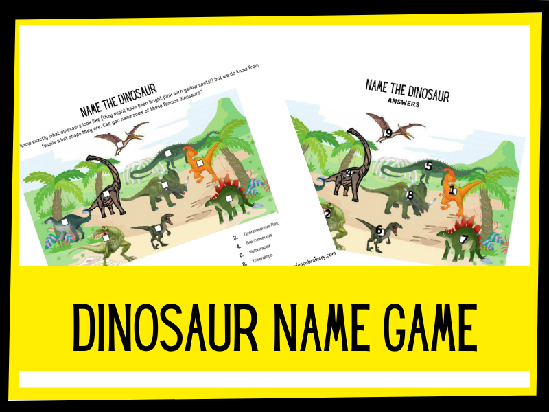 Name the Dinosaur labelling game KS1 KS2