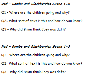 Bombs and Blackberries - Comprehension, Guided Reading, Speaking and Listening