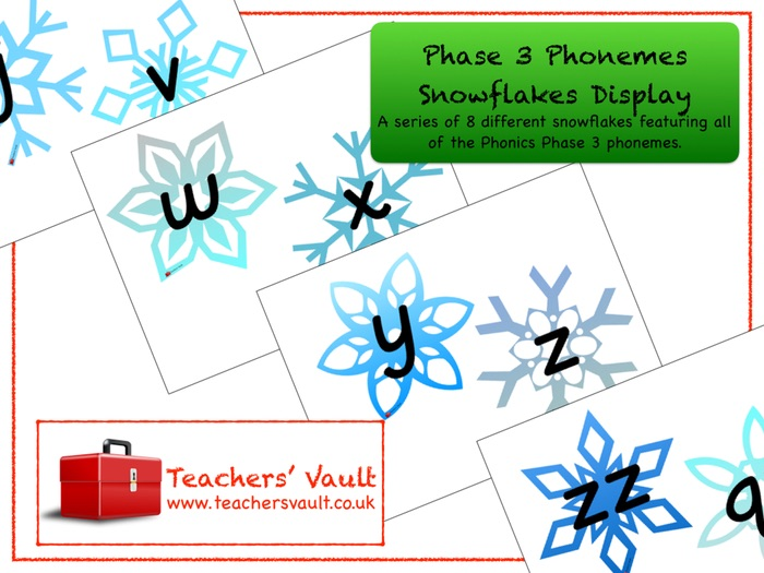 Phase 3 Phonemes Snowflakes Display