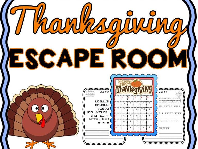 Thanksgiving Escape Room - U.S. Holiday - No Prep!