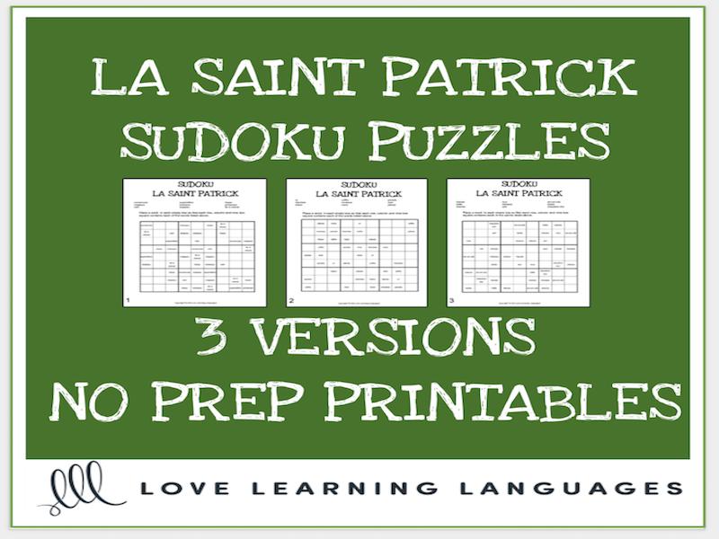 La Saint Patrick French Sudoku Puzzles - St. Patrick's Day - Printable
