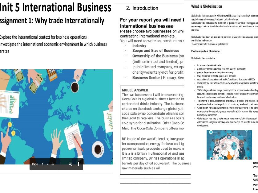 BTEC National Business Level 3 Unit 5: International Business- Assignment 1 Student Booklet