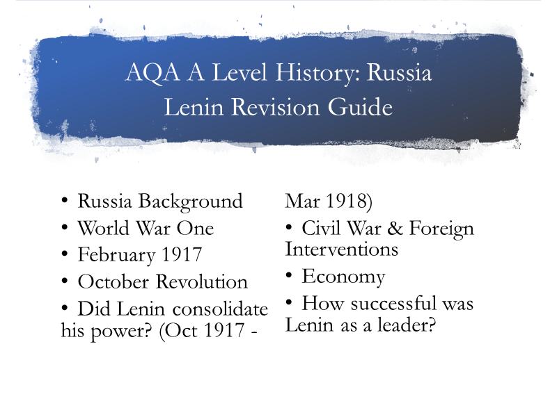 AQA A Level History Russia Lenin Guide