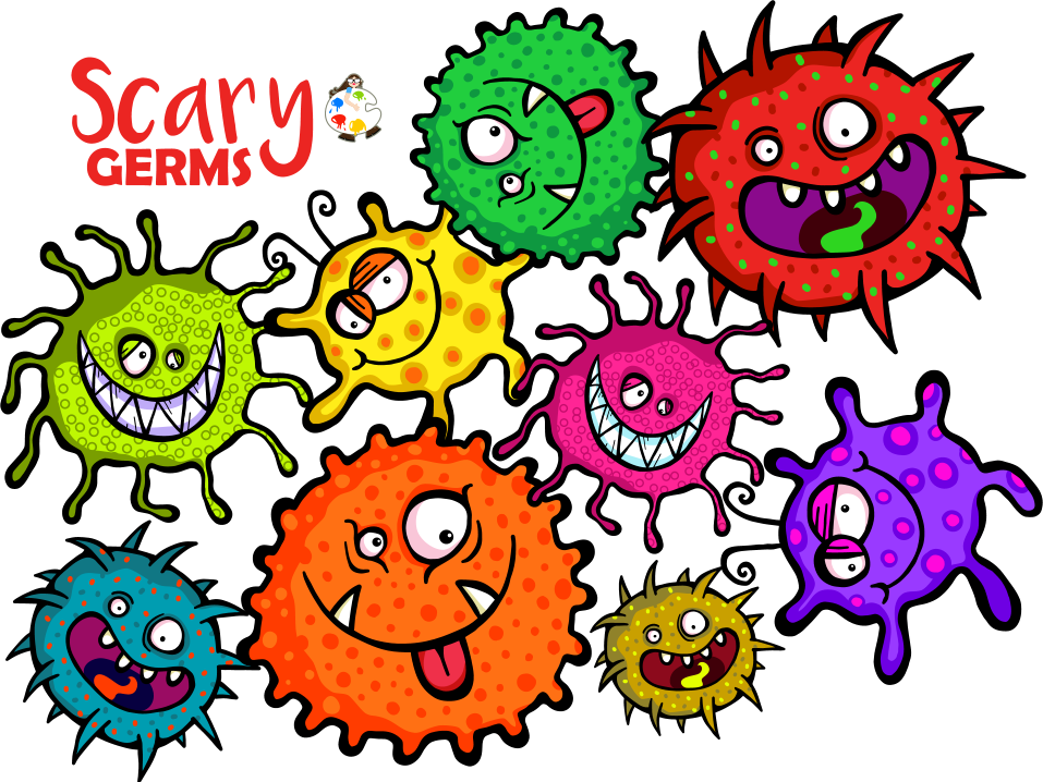 Microscopic Scary Germ ClipArt Medical Health Images