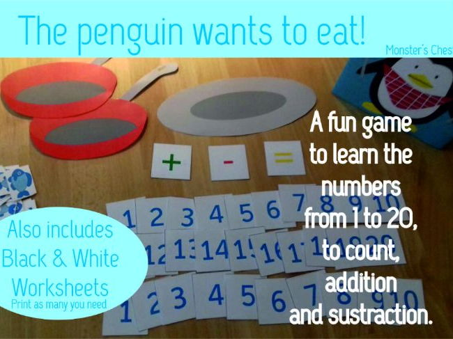 "Basic Maths Game ""The penguin wants to eat"""