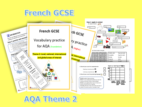 FRENCH GCSE- VOCABULARY PRACTICE FOR AQA THEME 2 (Foundation +Higher)
