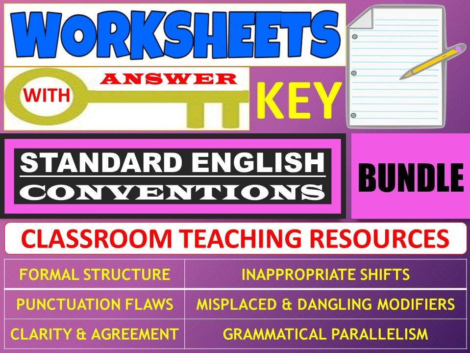 STANDARD ENGLISH CONVENTIONS: WORKSHEETS WITH ANSWER KEY - BUNDLE