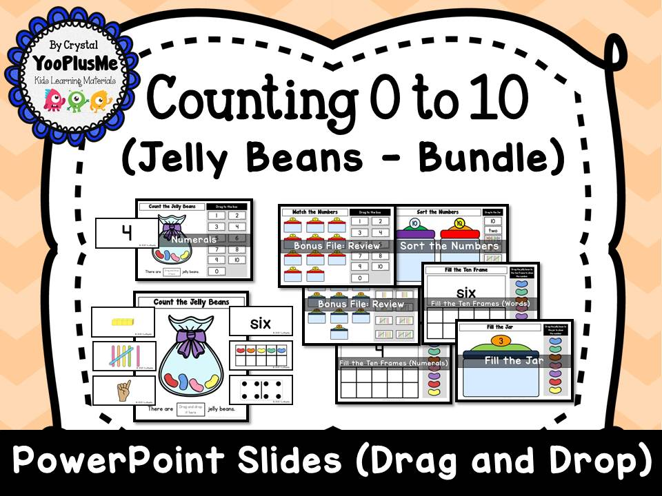 Counting Jelly Beans (0 to 10) - PowerPoint Slides (Drag and Drop)