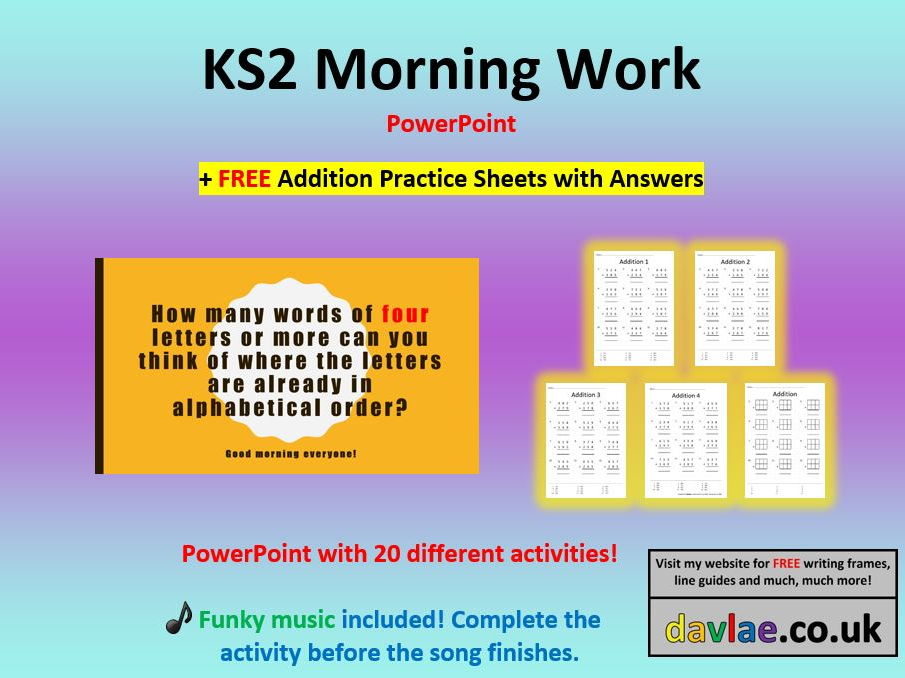 KS2 Morning Work PowerPoint (+ FREE ADDITION PRACTICE SHEETS WITH ANSWERS)