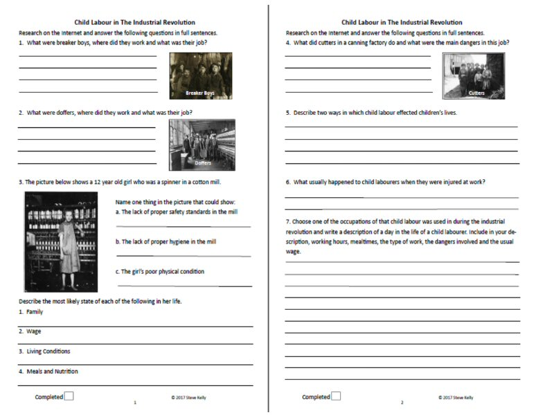 Child Labour Research Worksheet - Stage 5 History - The Industrial Revolution