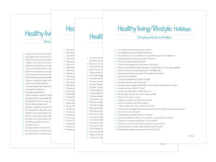 Y12 - Questions on Healthy living and lifestyle (Holidays)