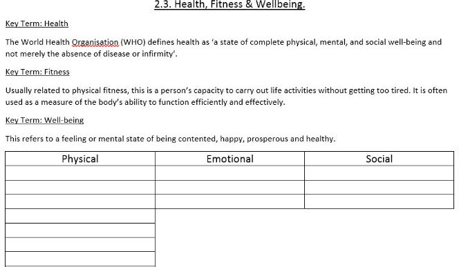 GCSE PE OCR 2.3 Health, Fitness & Well-being Resource Pack