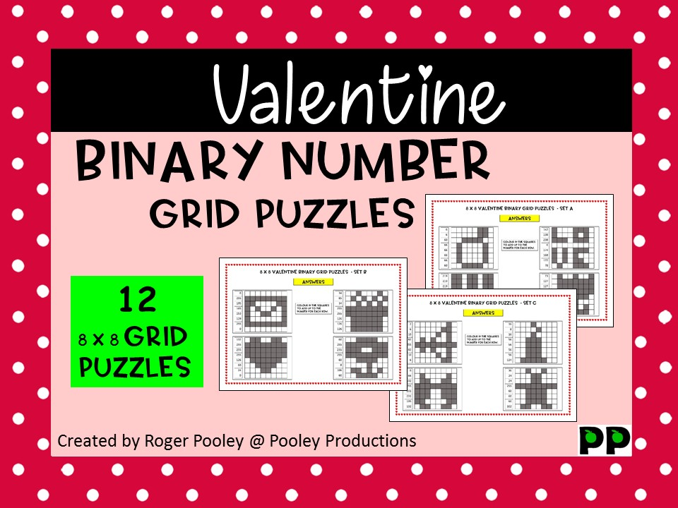 Christmas Binary Number 8x8 Grid Puzzles - 12 puzzles, no Prep