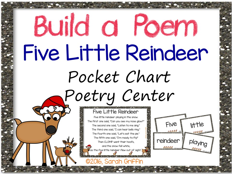 Build a Poem: 5 Little Reindeer - Pocket Chart Chart