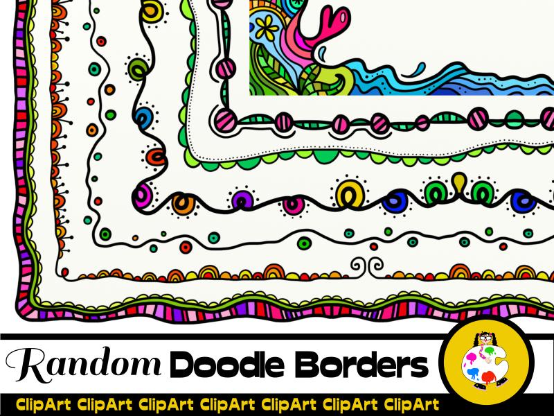 Random Doodle Frame Clip Art Set
