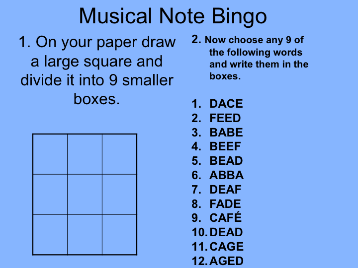 Music Theory: Treble Clef Bingo Game (powerpoint file)
