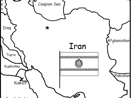 IRAN - Printable handouts with map and flag