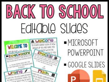 Back to School Slides | EDITABLE