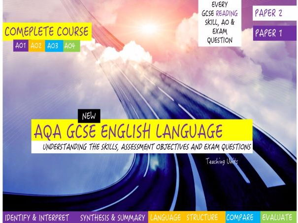 New GCSE English Language, EVERY Reading Skill, AO & Exam Question, COMPLETE 4-WEEK SERIES of UNITS.