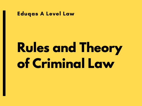 Rules and Theory in Criminal Law -  Edquas A Level Law - Criminal Law - L1