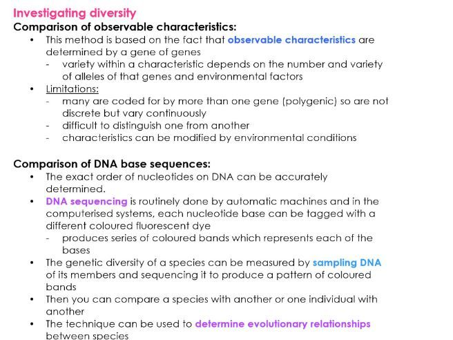 AQA A Level INVESTIGATING DIVERSITY Biology Notes for NEW 7402 SPEC
