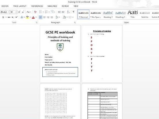 AQA GCSE PE (1-9) Methods of Training Workbook