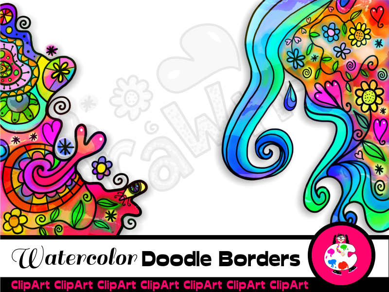 Vibrant Watercolor Doodle Borders