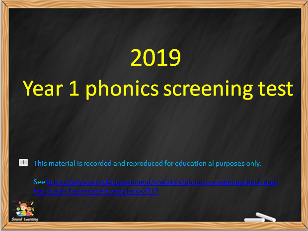 Year 1 Phonics Screening test 2019