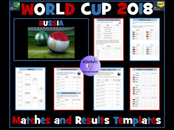 2018 Football World Cup: Matches and Results Templates
