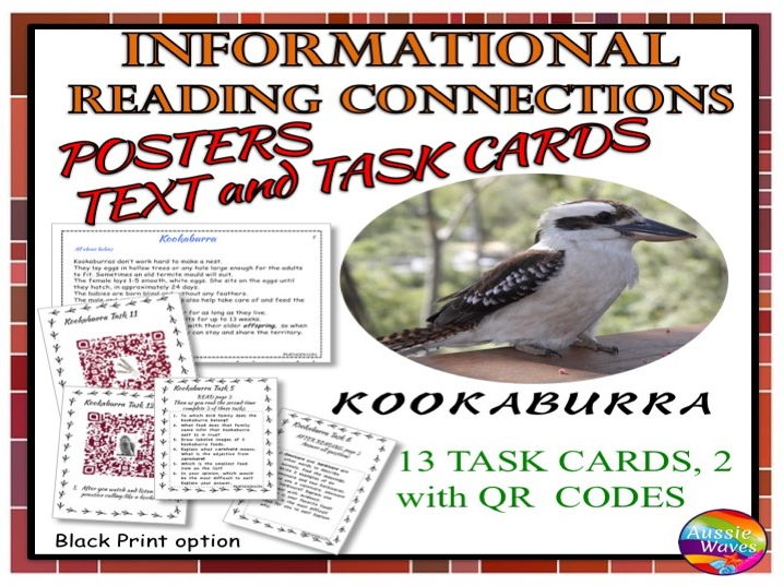 Reading Non-Fiction Informational Text and Task Cards BIRDS KOOKABURRAS