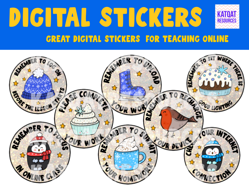 Digital Stickers For Teaching Online - Reminders And Requests - Winter