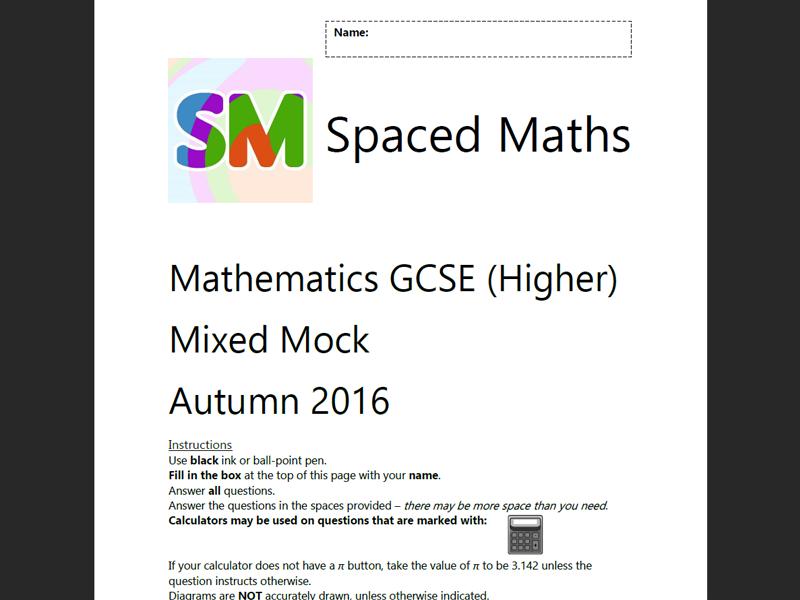 Gcse maths revision resources tes gcse 9 1 mathematics mock exam higher fandeluxe Choice Image