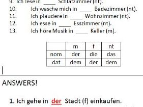 Simple German task to practise use of dative after 'in'